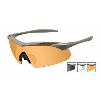 Баллистические очки WX VAPOR 3512. Оправа: TAN. Линзы: Smoke/Clear/Light Rust