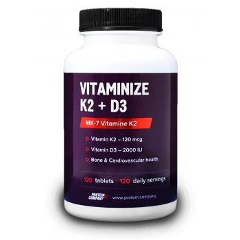 Vitaminize K2 + D3 / Витаминный комплекс / Таблетки / 120 порций / 120 таблеток / вкус лимон